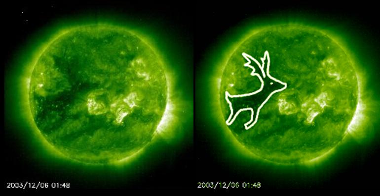 Rudolf som solflekk. Foto. NASA.