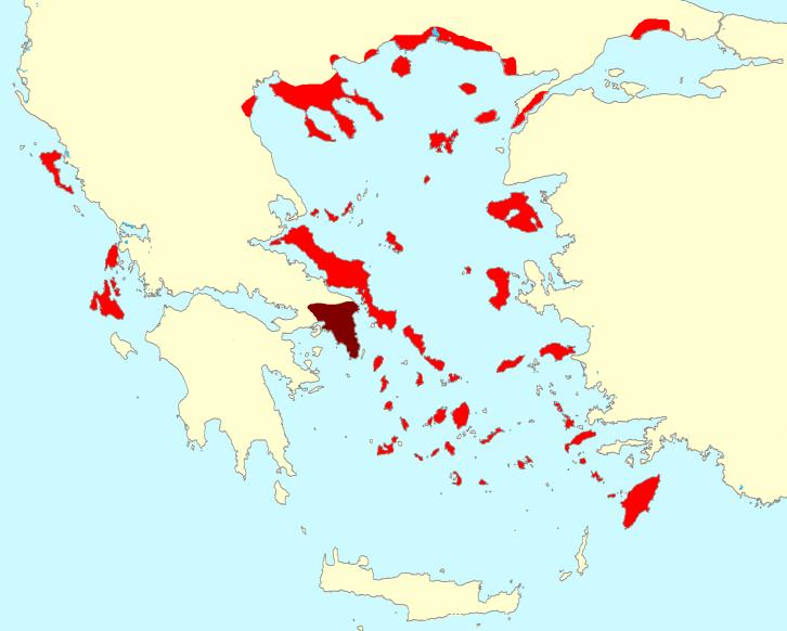 Det Athenske imperiet på sitt største, med kolonier og allierte bystater, 20 år før Lysistrata ble oppført for første gang - Wikimedia Commons.
