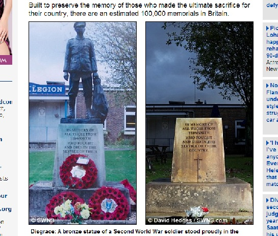 War memorial - vandalisert av metalltyver. Digitalfaksimile fra Daily Mail.