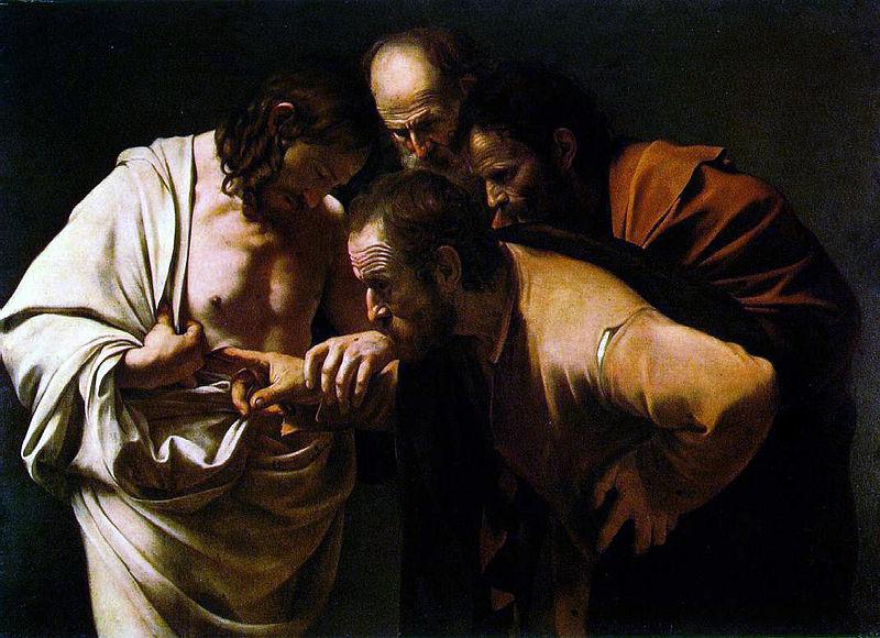 """""""Tvileren  Tomas""""- av Caravaggio - Wikimedia Commons"""