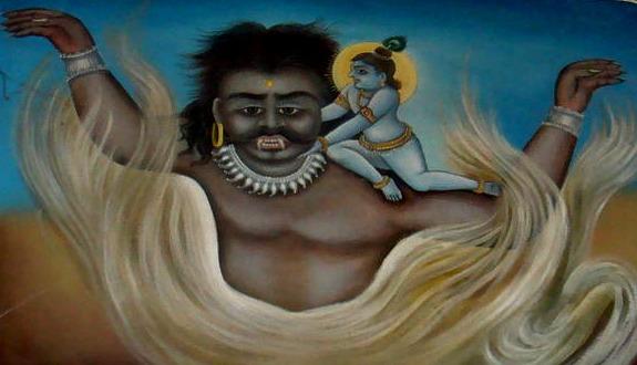 Krishna dreper demon. Shyam. Reengus_Temple_Art. Wikimedida Commons.