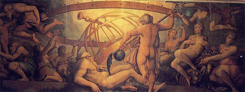 Uranos blir kastrert av sin far, Kronos. Wikimedia Commons.