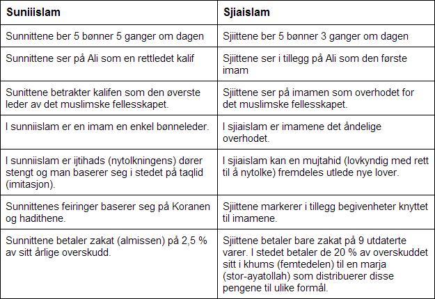 Forskjeller mellom sjia- og sunniislam