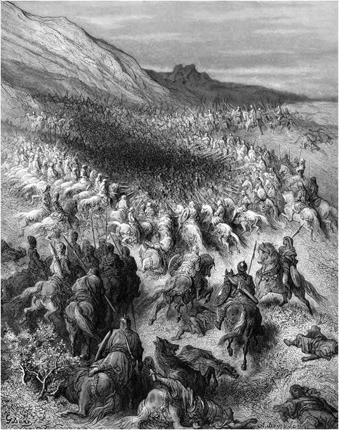 Saladin led flere nederlag mot korsfarerne, men slaget ved Hattin var hans største triumf. Slik forestiller den franske kunstneren Gustav Doré seg hvordan det kan ha artet seg. Kilde: Wikimedia Commons.