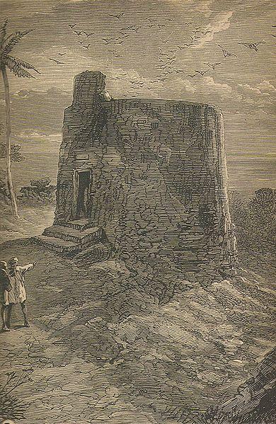 Et stillhetens tårn i Bombay i 1886, med gribber sirklende over seg. Illustrasjon av Cornelius Brown - Wikimedia Commons.