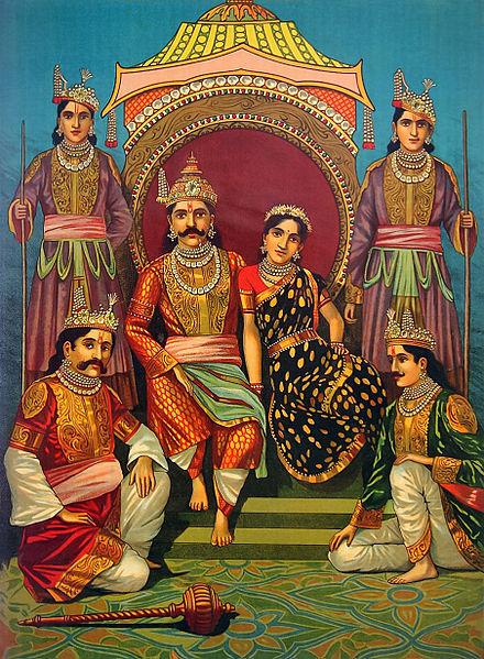 Dronning Draupadi fra det indiske eposet Mahabarata var gift med fem brødre. Av Raja Ravi Varma - Wikimedia Commons.
