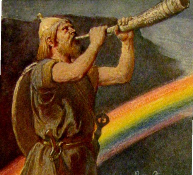 Heimdall på regnbuebroen av Emil Dopler - Wikimedia Commons.
