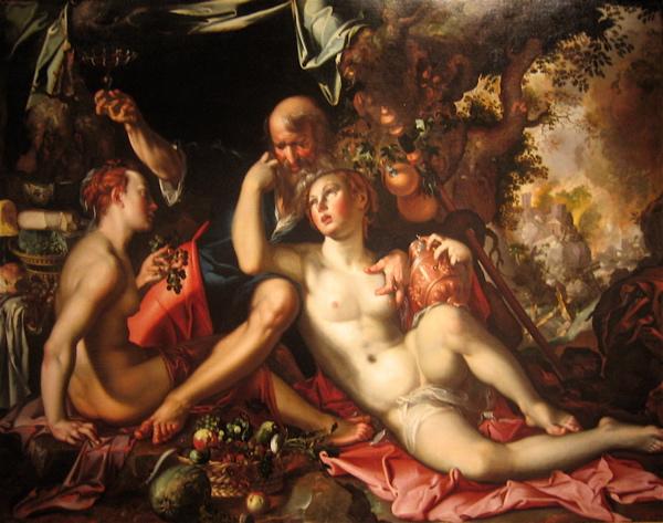 Lot ble forført av sine døtre. Ikke bare hadde han sex med andre kvinner enn sin kone, men de seksuelle forholdene var attpåtil incestuøse. Av Joachim Antonisz Wtewael (1566 -1638) - Wikimedia Commons.