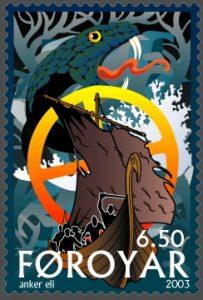 Skipet Naglfar på et færøyisk frimerke. Arne List - Wikimedia Commons.