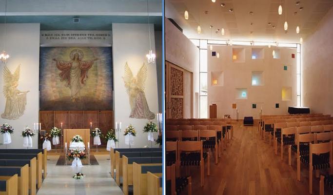 Bildet til venstre viser hvordan et seremonirom ikke bør se ut, mens bildet til høyre viser hvordan et livssynsnøytralt rom kan se ut. Foto fra Hamar gravkapell og Bodin seremonirom av