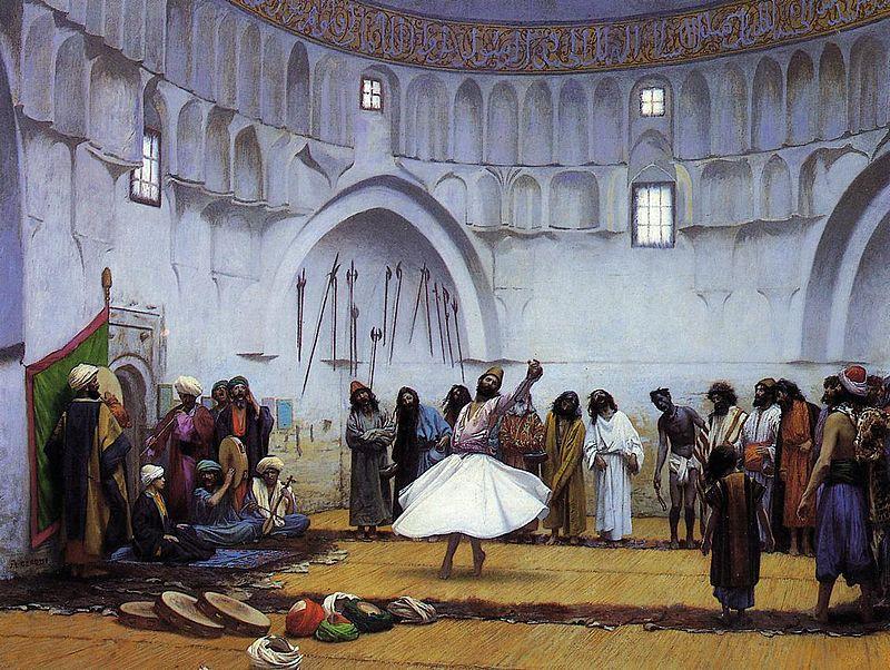 En virvlende dervisj i det nittende århundret. Maleri av Jean-Léon Gérôme - Wikimedia Commons.