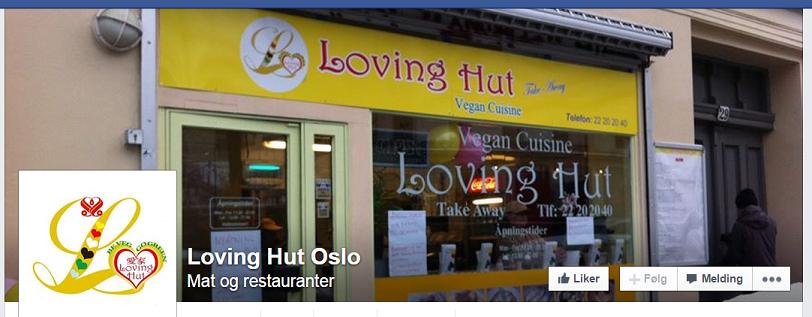 Skjermdump fra Loving Hut Oslos facebookside