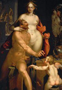 Afrodite og Eros klarer seg godt. Her med Afrodites ektemann, Hefaistos. Av Bartholomäus Spranger - Wikimedia Commons.