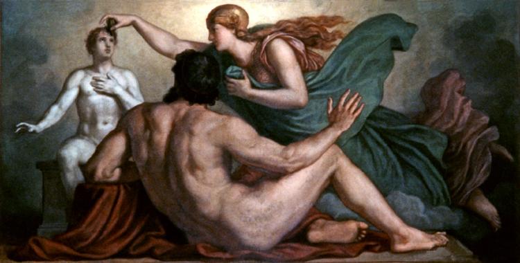 Promotheus var altfor snill med menneskene. Her ser han på mens Athene skjenker mennesket fornuften. Av Christian Griepenkerl - Wikimedia Commons