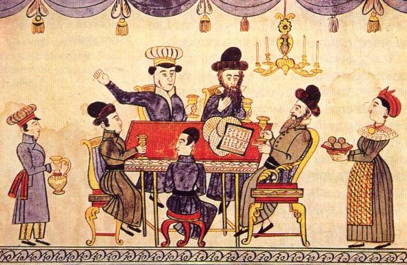 Slik så det ut ved et jødisk sedermåltid i Ukraina i det nittende århundret - Wikimedia Commons.