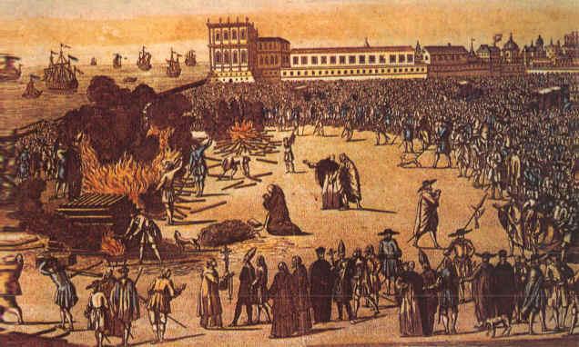 Jødiske konvertitter til kristendommen blir brent av inkvisisjonen i Portugal som har bedømt konversjonen som falsk. Kilde: Wikimedia Commons.