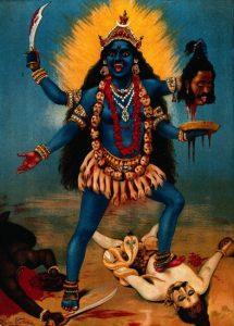 Kali trampling Shiva. Av: Raja Ravi Varma