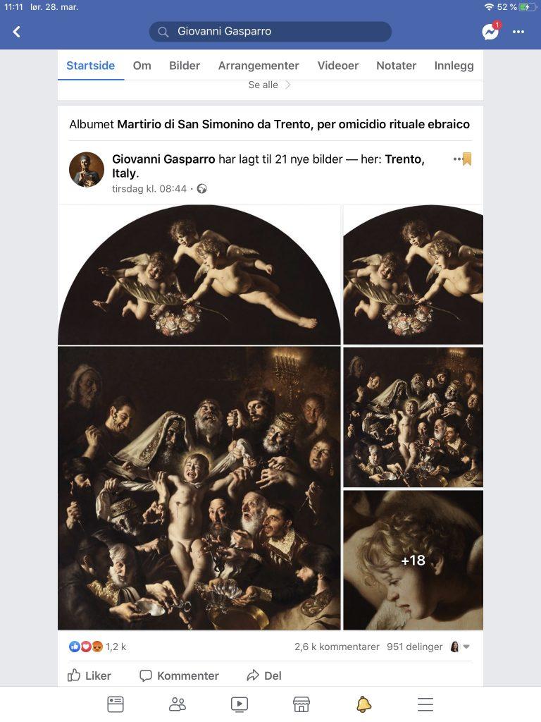 Skjemdump Giovanni Gasparros Facebook-side 28.03.2020 kl 11.11